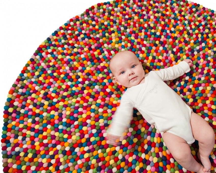 Multi-bunten-Filz-Ball-Teppiche-Baby